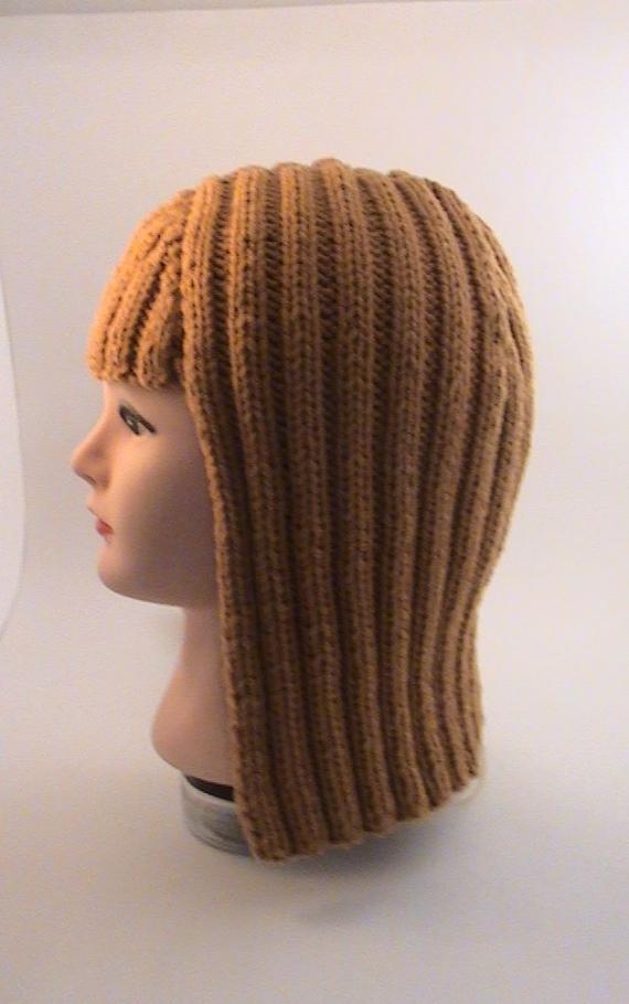 Шапка-паричок Каре рыженький, вязаный крупной вязкой