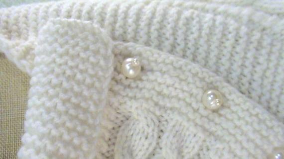 Шарф-трансформер Роскошь жемчуга, белый, вязаный из полушерсти
