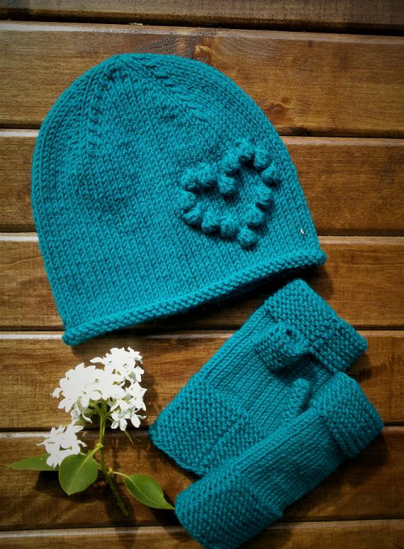 Комплект шапочка и митенки