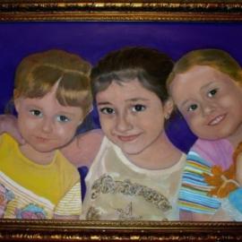 Тройной портрет. Масло.