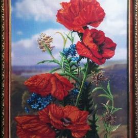 """Картина """"Красные Маки"""" / вышивка, 58х43 см"""