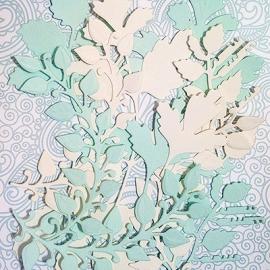 """Фигурные вырубки """"Травянистые растения и листья"""" ванильно-зеленые, 12 шт."""