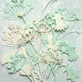 """Фигурные вырубки """"Травянистые растения-3"""" ванильно-зеленые, 10 шт."""