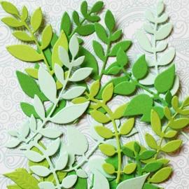"""Фигурные вырубки """"Травянистые растения-2"""" зеленый микс, 15 шт."""