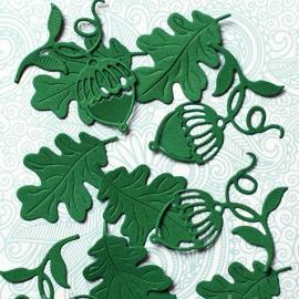 """Фигурные вырубки """"Листья дуба с желудями"""", темно-зеленые, 3х4см, 10 шт."""