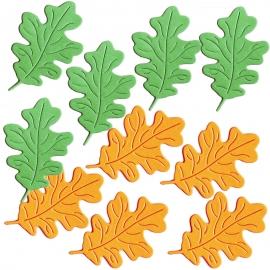 """Фигурные вырубки """"Листья дуба"""", зелено-оранжевые, 3х4см, 10 шт."""