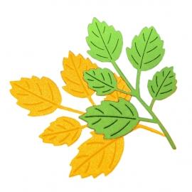 """Фигурные вырубки """"Листья розы"""", желто-зеленые, 7х4,5см, 8 шт."""