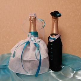 Свадебное украшение на  бутылку
