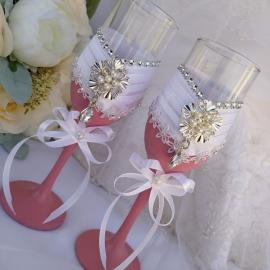 """Свадебные бокалы """"Пудровый розовый"""""""