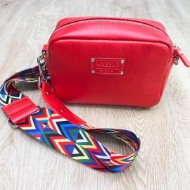 Женская кожаная сумка красная