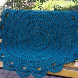 Круглый коврик цвета морской волны из полиэфирного шнура