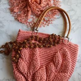 Пляжная сумка / сумка-шопер абрикосового цвета