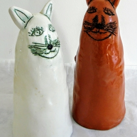 """Статуэтки """"Белая кошка, рыжий кот"""""""