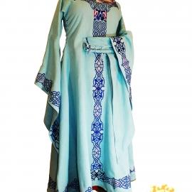 Средневековое льняное платье Морская Царевна; Фэнтези; Вышитое