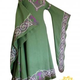 Средневековое льняное платье Дана; Фэнтези; Вышитое