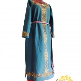 Льняное платье Варвара Краса бирюзовое