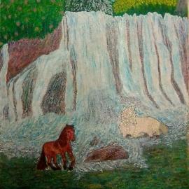 Кони у водопада