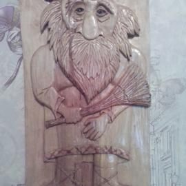 """Резная картина из дерева """"Домовенок"""""""