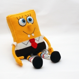 Спанч Боб игрушка подушка.Вязаный Губка Боб