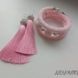 Комплект серьги-кисти и браслет