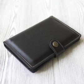 """Черное мужское портмоне, для паспорта, карт, банкнот и мелочи """"Вояж"""""""