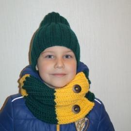 Детский комплект шапка + снуд