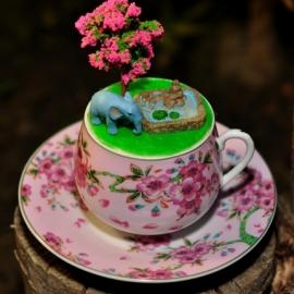 """Интерьерная композиция в чашке """"Голубой слон"""""""