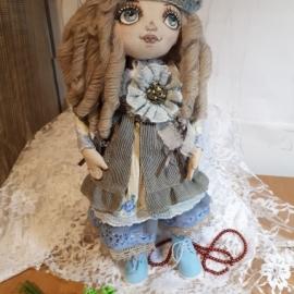 Текстильная кукла Настя в наряде в стиле Бохо