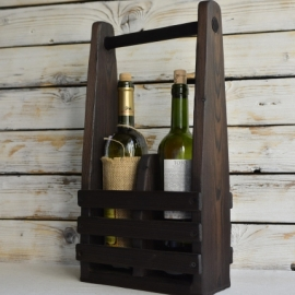 Подставка (ящик, короб) под 2 бутылки из дерева