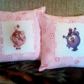 Подушки для девочки. Сова Совунья и свинка Нюша.