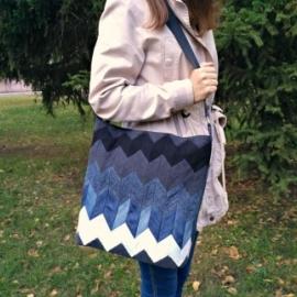 Женская джинсовая сумка на плечо, лоскутное шитье.